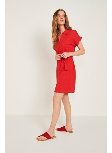 Join Us Çiçekli Beli Kemerli Triko Elbise Mercan